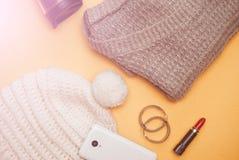 Roupa do inverno Grupo do women& bonito x27; roupa de s Imagem de Stock