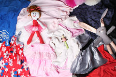 Roupa e acessórios para o fundo das meninas Foto de Stock Royalty Free