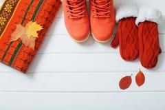 Roupa e sapatas do inverno em um fundo de madeira Fotografia de Stock Royalty Free