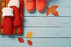 Roupa e sapatas do inverno no fundo de madeira Fotografia de Stock
