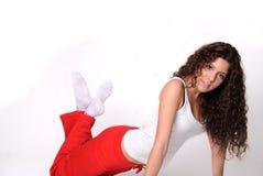 Roupa grega da ginástica de mulher Imagens de Stock