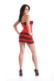 Roupa interior vermelha do espartilho dos pés 'sexy' longos bonitos da mulher Fotografia de Stock Royalty Free