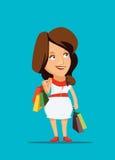 Roupa nova de compra da mulher com classe na ilustração de New York imagens de stock