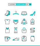 roupa A planície e a linha ícones ajustaram-se, projeto liso ilustração royalty free