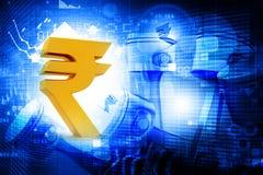 Roupie indienne avec le diagramme financier Photo libre de droits