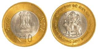 10 roupies indiennes de pièce de monnaie Image stock