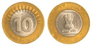10 roupies indiennes de pièce de monnaie Photographie stock