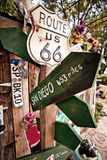 Roure 66 artefacts. Old Route 66 signs somewhere in desert in Arizona Stock Photography