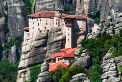 Rousannou Monastery at Meteora, Greece. Rousannou Monastery occupies a lower rock than the others of the Meteora and was built in the 16th century, the easily Stock Photos