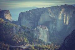 The Rousanou monastery in Meteora, Greece royalty free stock photos