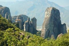 Rousanou rock monastery at Meteora,Greece royalty free stock photos