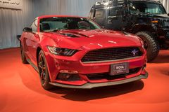 Roush Red Mustang car displayed in Tel-Aviv. Israel. TEL-AVIV, ISRAEL - APRIL 4, 2017: Roush Red Mustang car displayed in Tel-Aviv. Israel stock photos