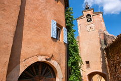 Rousillon, Provence, France. Old clay colored church in Rousillon village, Provence, France royalty free stock photos