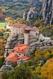 Roussanou Monastery and Meteora Rocks in Greece Royalty Free Stock Images