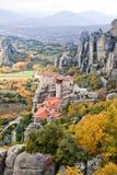 Roussanou Monastery and Meteora Rocks in Greece Stock Photo