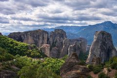 Roussanou Monastery panoramic view, Meteora Monasteries, Trikala, Thessaly, Greece stock photography