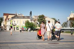Rousse, Bulgaria. AUGUST 18, 2012: People visit the main square in Ruse, Bulgaria. Ruse also known as Rousse is the 5th largest city in Bulgaria with 149 Royalty Free Stock Photos