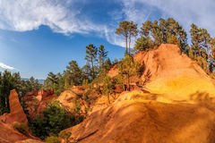 Roussillion park with red rocks in Luberon, Provence, France Stock Images