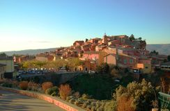 Roussillon, France. Extraordinary colors of a foreshortening in Roussillon (France) at sunset royalty free stock photo