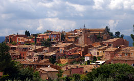 Roussillon in the Provence. Village Roussillon coloured with ochre situated on a hill in the Provence, France Stock Images