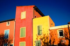 Roussillon sunset. Extraordinary colors of Roussillon houses at sunset royalty free stock photos
