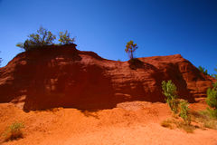 Roussillon, Vaucluse, France - view at the ochre mountains Stock Photos