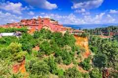 Roussillon, Provence in France. Roussillon, Vaucluse. The red hilltop village of Provence, France most beautiful places stock photos