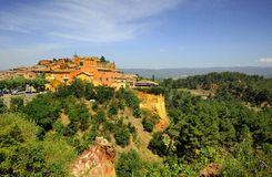 Roussillon. View of the medieval town Roussillon, Luberon, southern France royalty free stock photos