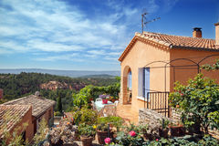 Roussillon village, garden and house Royalty Free Stock Photography