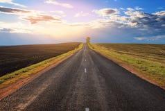 Route à l'horizon avec un arbre et des nuages Photos libres de droits