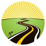 Route à l'horizon solaire illustration stock