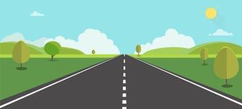 Route à l'illustration de vecteur de backgroud de nature Rue avec le champ, les collines, les nuages, les arbres et le soleil illustration libre de droits