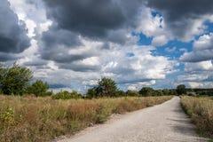 Route à la forêt au ciel nuageux dramatique Image stock