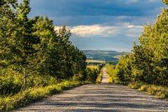 Route à la maison d'huile près de John Ware Ridge images libres de droits