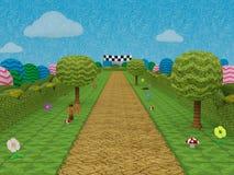 Route à la scène de jeu électronique d'amusement de niveau de jeu de finition Image stock