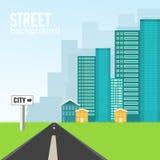 Route à la ville sur le concept plat de fond de style Image libre de droits