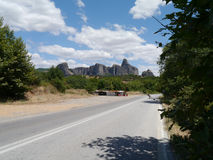 Route à Meteora, Grèce du nord Image stock