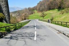 Route à Vaduz - en Liechtenstein Images libres de droits