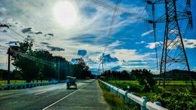 Route étroite en île Quezon de Cagbalete photographie stock
