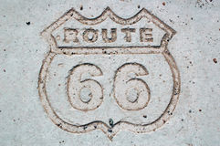 Route 66. Etched in the concrete Stock Photo