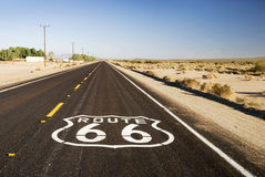 Route 66. Painted marker on a California portion of the historic Route 66 royalty free stock image