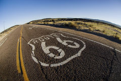 Route 66. Painted marker on a California portion of the historic Route 66 royalty free stock photography