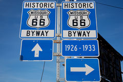 Route 66. Historic US Route 66 just off Lindburgh and Manchester Blvd., Kirkwood, a suburb of St. Louis, MO Stock Image