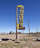 Route 66 - Bagdad California. Bagdad, California, USA - February, 3rd 2011:  Hotel sign ruin along historic Route 66 in the middle of California's vast Mojave Royalty Free Stock Image