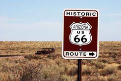 Route 66 Breakdown. Don't expect rapid roadside assistance along some of the more remote parts of historic Route 66 Stock Photo