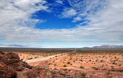 Route 66 California. Vantage point overlooking Route 66 Mojave desert California royalty free stock photography
