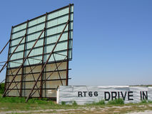 Route 66 drive-in. Back of route 66 drive in theater screen Stock Image