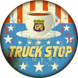 Route 66 Enamel Truck Stop Sign Royalty Free Stock Image