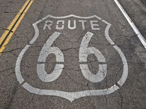 Route 66 Faded. Old, broken section of historic Route 66 in California's Mojave desert Stock Photo
