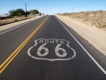 Route 66 Hill. Historic Route 66 crossing the Mojave Desert in California Stock Image